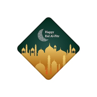 Minimalist illustration for greeting post, happy eid al-fitr