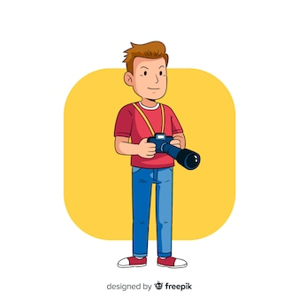 Minimalist illustration of photographer working
