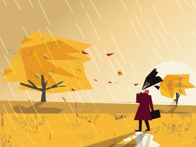 Minimalist image with grunge texture in autumn landscape scene.