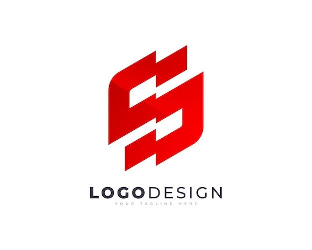 ミニマリストの最初のカットオフとカットオフs文字ロゴベクトルデザインテンプレート