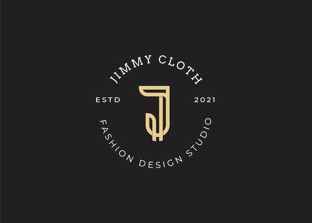 미니멀리스트 초기 j 문자 로고 디자인 서식 파일, 빈티지 스타일, 벡터 일러스트