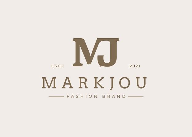 Минималистский первоначальный шаблон дизайна логотипа mj письмо, векторные иллюстрации