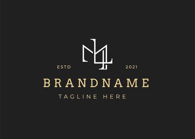 ミニマリストの初期ml文字ロゴデザインテンプレート、ビンテージスタイル