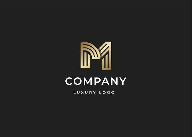 ミニマリストのイニシャルm文字のロゴデザインテンプレート、ラインスタイル