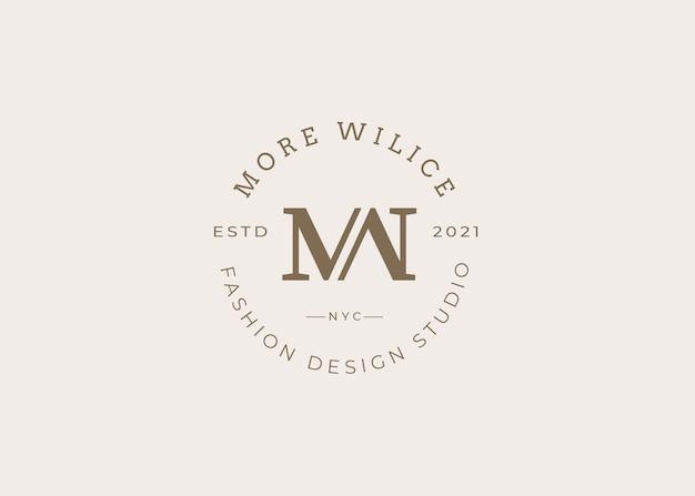 ミニマリスト初期mw文字ロゴデザインテンプレート、ビンテージスタイル、ベクトルイラスト