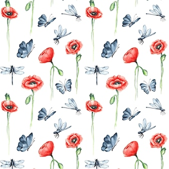 Minimalist insects and flowers pattern