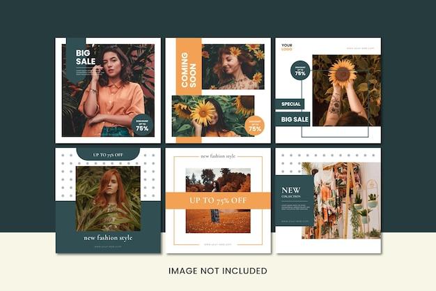 ファッションビジネスのためのミニマリストのインスタグラムポストプロモーションコレクション