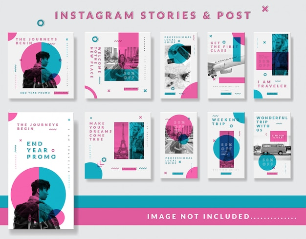 Minimalist instagram stories and post  template set