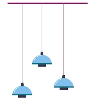Minimalist interior design of home or office, living or working space improvement. isolated hanging lamps, stylish accessories for scandinavian dwelling or workplace. trendy furnishing vector