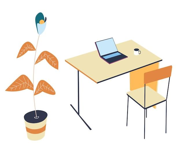 自宅のオフィスや職場のミニマリストのインテリアデザイン。ノートパソコンと温かい飲み物のカップが付いているテーブル。装飾的な観葉植物とシンプルな椅子。フリーランスまたは学生の作業スペース、フラットスタイルのベクトル