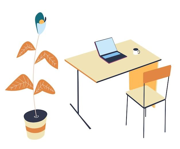 Minimalist interior design of office or workplace at home. table with laptop and cup of hot beverage. decorative house plant and simple chair. freelance or student working space, vector in flat style
