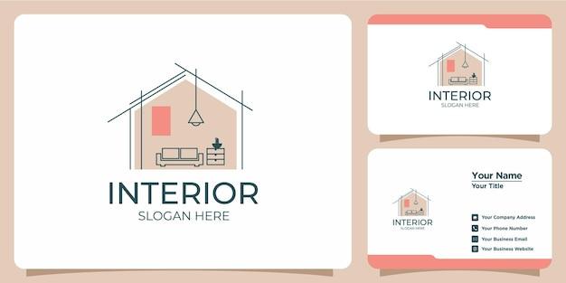 Минималистичный интерьерный логотип с дизайном логотипа в стиле line art и шаблоном визитной карточки
