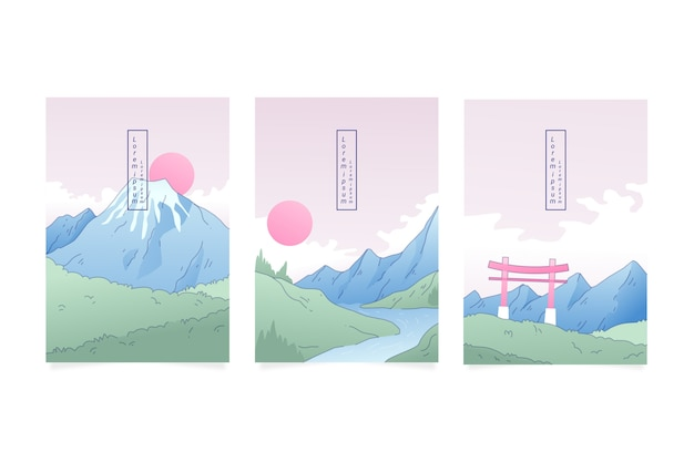 Minimalist japanese cover assortment with mountains