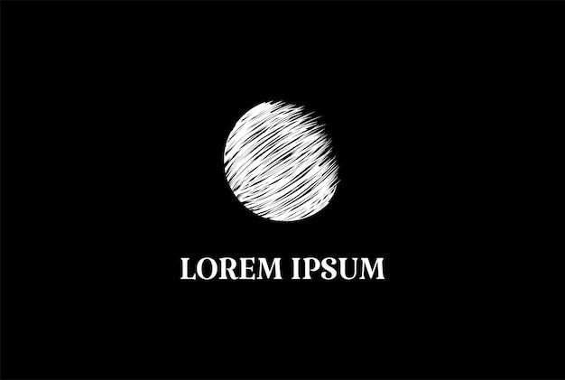 Minimalist jupiter or earth world globe moon planet logo design vector