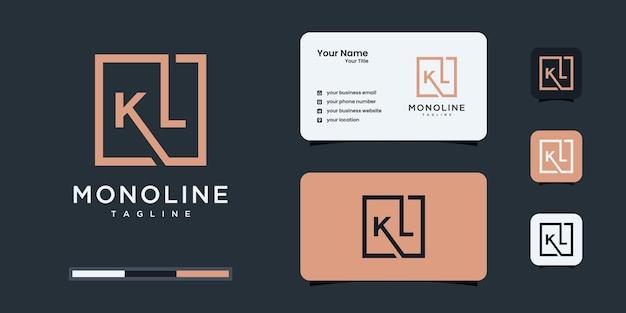 ミニマリストのkとlまたはklのロゴのモノグラム、アルファベット、文字、初期デザインのインスピレーション