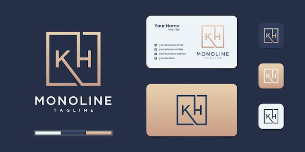 Minimalist k and h logo design template. k h logo for your business.