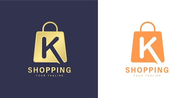 Minimalist k letter logo with  shopping  and  online store  concept
