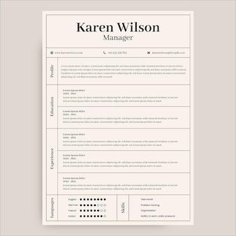 Curriculum minimalista karen manager
