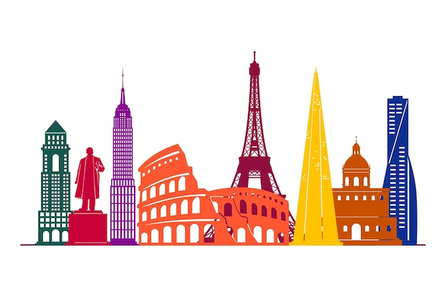 Minimalist landmarks skyline with tourist attractions