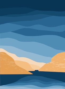 Minimalist landscape abstract mountains and sea