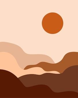 미니멀리스트 풍경. 추상 모양. 바우 하우스 인쇄. 오래 된 팝 색상 팔레트 디지털 현대 미술 인쇄입니다.