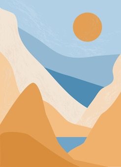 Minimalist landscape with sunrise and sunset in the mountains