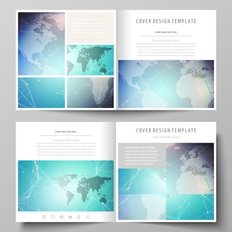 The minimalist layout of two covers templates for square brochure