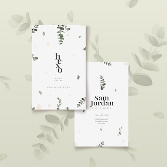 Minimalist leaves business cards template