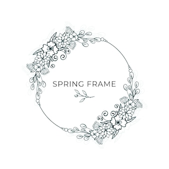 Minimalist leaves and flowers spring frame design