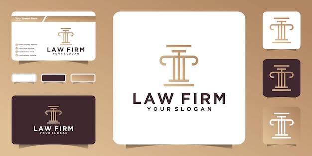 Минималистский логотип юридического правосудия и дизайн визитной карточки