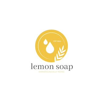 Minimalist lemon soap logo template