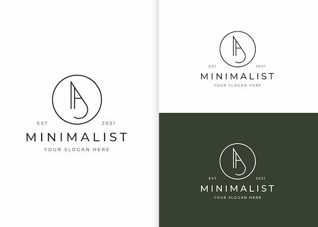 Минималистский буква a логотип с шаблоном дизайна в форме круга