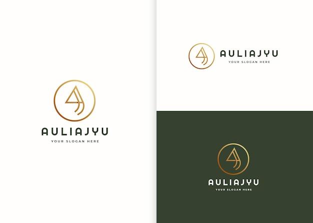 Минималистское письмо роскошный логотип с шаблоном дизайна в форме круга