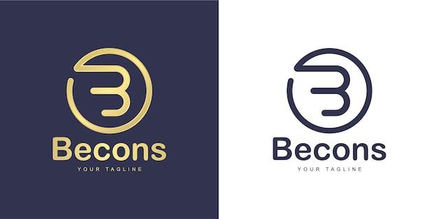 「円の形」と「黄金」のコンセプトを持つミニマリストの文字bのロゴ