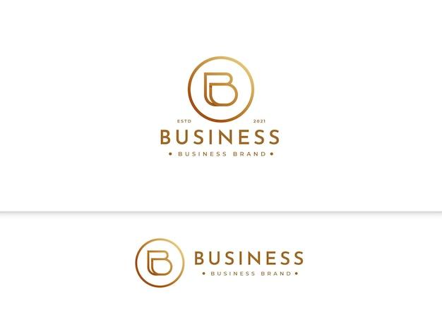 Минималистский шаблон дизайна роскошного логотипа буква b
