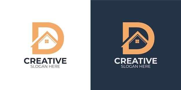 Минималистичный набор логотипов дома с буквой d