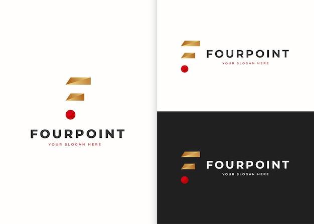 ミニマリストの手紙fの豪華なロゴデザインテンプレート。ベクトルイラスト