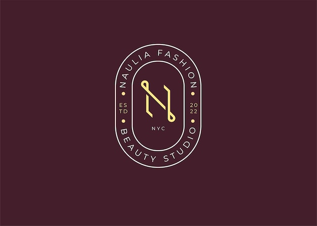 ミニマリスト文字のイニシャルnロゴデザインテンプレート、ビンテージスタイル