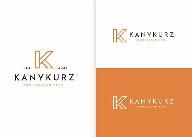 ミニマリストの文字kロゴデザインテンプレート。ベクトルイラスト