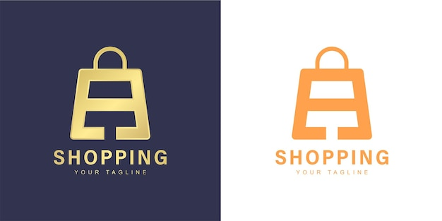 Minimalist a letter logo with  shopping  and  online store  concept