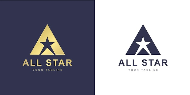 Minimalist a letter logo with  super star  or  all star  concept