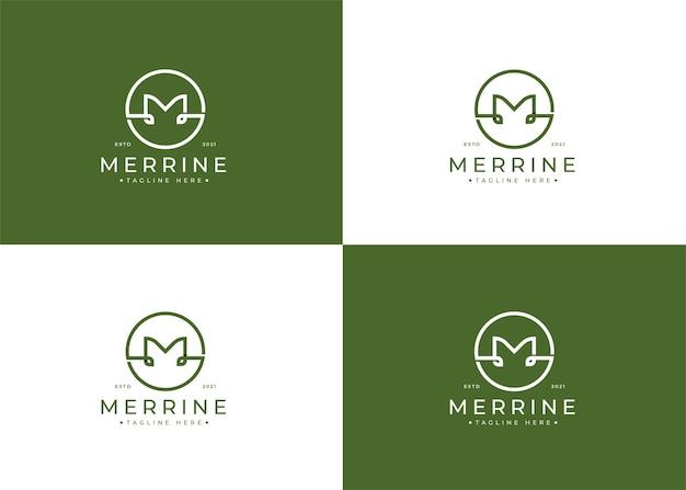 Минималистский дизайн логотипа буква m с формой круга