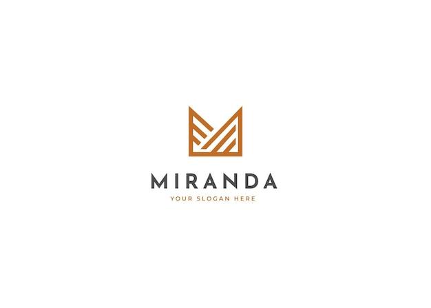Минималистский буква m роскошный дизайн логотипа