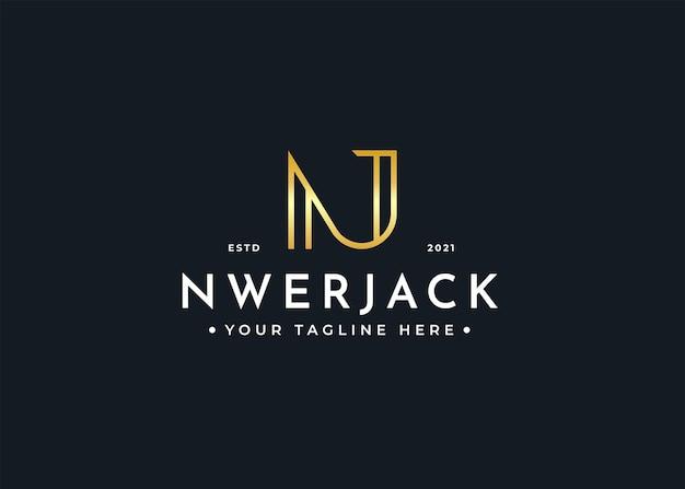 Minimalist letter n j luxury logo design template