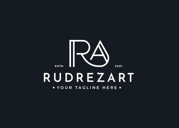 Минималистский шаблон дизайна логотипа letter ra
