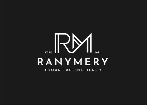 Минималистский шаблон дизайна логотипа письмо rm