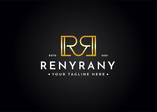 Minimalist letter r r luxury logo design