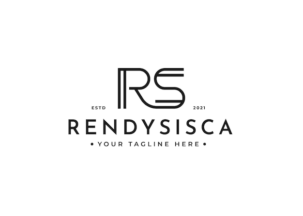 Minimalist letter r s logo design for personal brand or company