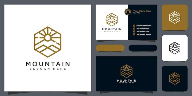 ミニマリストライン抽象的な山と太陽の光のロゴデザイン