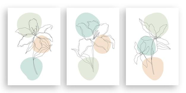초록 잎 디자인 세트와 미니멀 라인 아트 꽃 그림